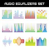 Audio equalizer icons, illustration