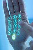 Mobile phone keypad projected on hand