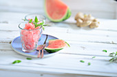Watermelon granita with ginger