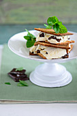 Ice cream biscuit sandwiches with chocolate and mint