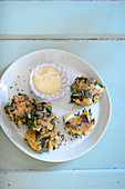 Chard fritters with mayonnaise