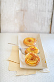 Mini tart tatins with saffron