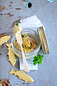 Rillette with fish in a screw-top jar