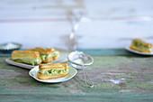 Eclairs with matcha ice cream