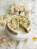 Macaron-Torte mit Pistaziencreme und Schokoladenmousse