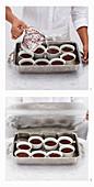 Kleine Schokoladenmousse-Kuchen mit Karamellsauce zubereiten