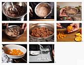Geeiste Schokoladenzimtsteine mit Orangen und Kokos zubereiten