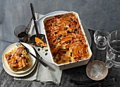 Pumpkin lasagne, sliced