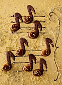 Caramel biscuits shaped like music notes