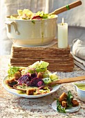 Chicory salad with a warm potato dressing