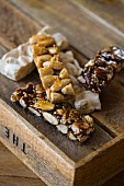 Almond nougat and bars of nougat