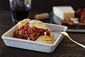 Ribbon pasta with tomato sauce