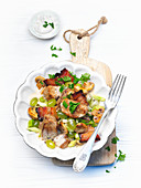 Pork fillet with mushrooms and grapes (traditional wine-growing region dish)
