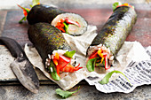 Sushi wraps with prawns and fresh vegetables