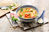 Vegan laksa bowl with silken tofu