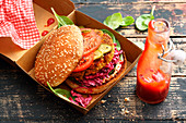 Vegetarian buckwheat burger with beetroot