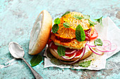 Halloumi Burger with harissa, oranges and mint