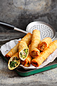Sigara böreği (stuffed, deep-fried Turkish pastry rolls) with leek, sheep's cheese and pine nuts