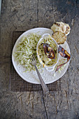 Pointed cabbage and bacon bake with pointed cabbage slaw