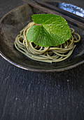 Wasabi noodles with a wasabi leaf