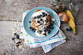 Gluten-free banana pancakes with blueberries