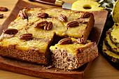 Vegan pineapple and pecan cake