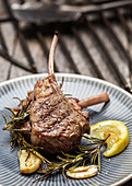 Grilled rack of lamb with rosemary, lemon and garlic