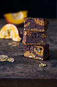 Chocolate and pumpkin marble cake