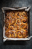 Apple and cinnamon buns, view from above