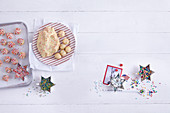 A baking arrangement featuring confetti cookies (Christmas biscuits, New York, USA)