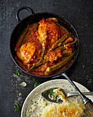 Khoreshte Bamiyeh – chicken in a tomato and okra sauce with tamarind