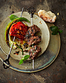 Lamb kebabs in a pomegranate and walnut marinade