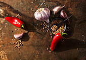 Ingredients for steak spice (chilli peppers, mustard seeds, garlic)
