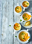 Orange and mango dessert in cups