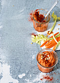 Red pepper and cashew spread in a glass
