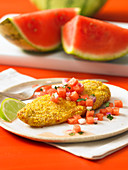 Airfryer cornmeal tilapia with watermelon salsa