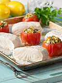 Pan-cooked halibut with stuffed tomatoes