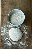 Bread dough before and after being stretched