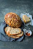 No-knead parmesan and chilli bread