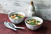 Miso soup with tofu, spinach and radish (Japan)