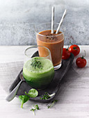A tomato smoothie and a lamb's lettuce and cress smoothie