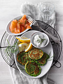 Green spinach pancakes with smoked salmon