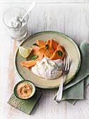 Caribbean quark cream with papaya