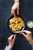 Vegan chickpea and chard crackers with turmeric