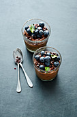 Vegan avocado chocolate mousse with blueberries