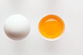weiße Eier, ganz und aufgeschlagen
