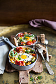 Shakshuka (poached eggs with tomatoes, North Africa)