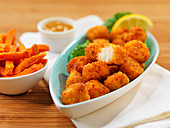 Fish nuggets with sweet potato fries