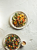 Super bowls (grain salads with vegetables)
