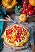 Tomato, cheese and corn pie